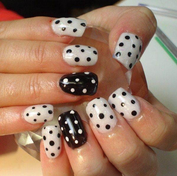 Day 264 Black And White Polka Dot Nail Art Polka Dot Nail Art Dot Nail Art Polka Dot Nails