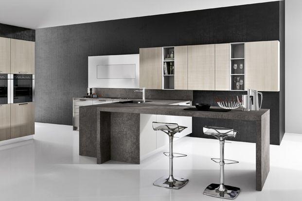 Dise o de cocinas modernas combina lineas simples en for Muebles de cocina departamento