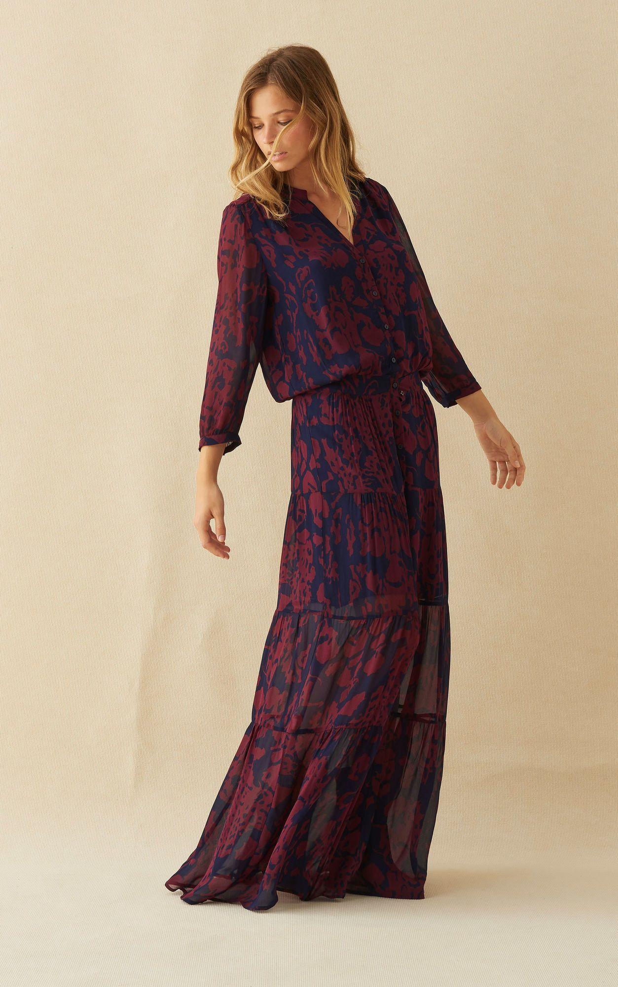 ROBE BLAKE MARINE ba&sh | Lange jurken, Herfst outfit ideeën