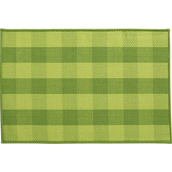 Jute Green Check Rug In Area Rugs