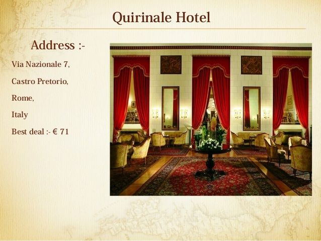 Quirinale Hotel Address Via Nazionale 7 Castro Pretorio Rome