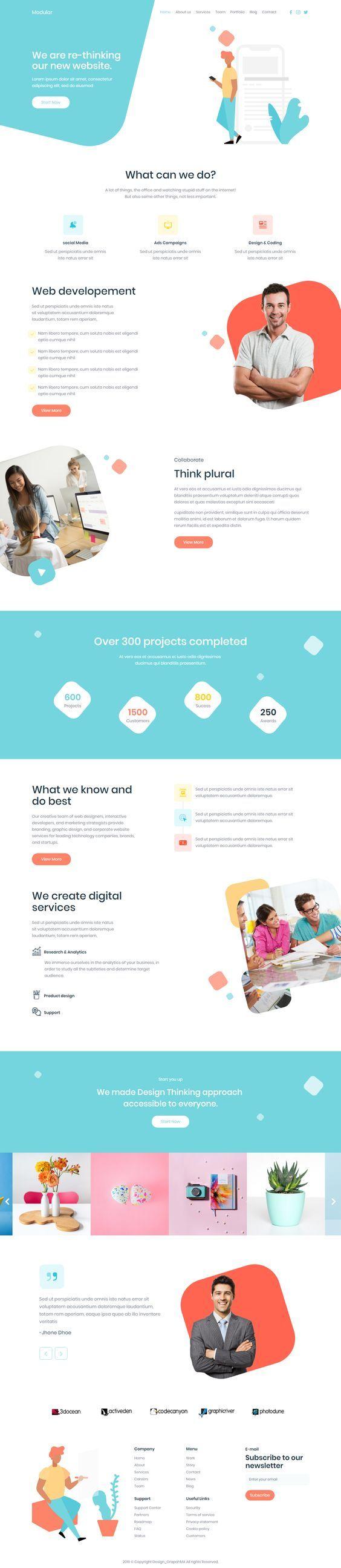 Modular Creative Html Template In 2020 Web Layout Design Web Design Inspiration Book Design Layout