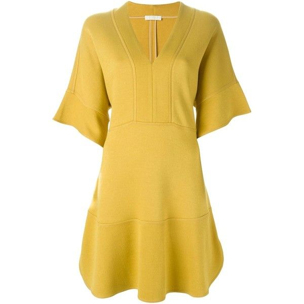Chloé V-Neck Dress ($780) Liked On Polyvore Featuring