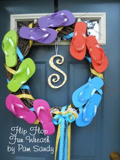Pam's Eclectic Stuff: Check Out My Fun Flip Flop Wreath and FOUR chances to Win a Free Class Seat!