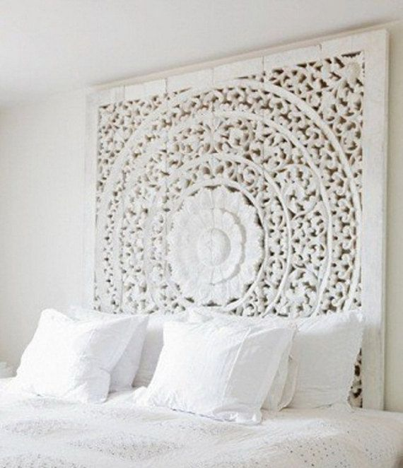 Carved Teak Wall Hanging Bed Headboard - unique white washed finish ...