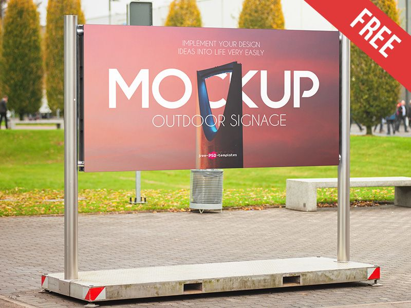 Free Outdoor Signage Mock Up In Psd Outdoor Signage Signage Outdoor