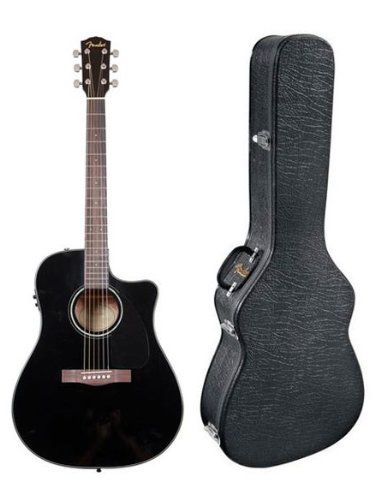 Fender Cd60ce Dreadnought Cutaway Acousticelectric Guitar Black Click On The Image For Additional Det Black Acoustic Guitar Guitar Guitar Chords For Songs