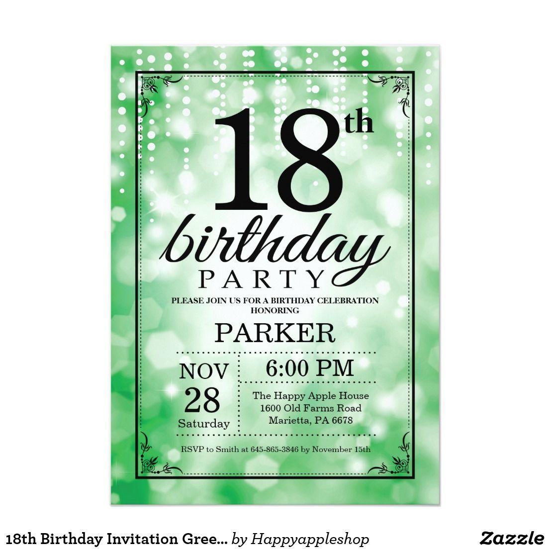 18th Birthday Invitation Green Glitter