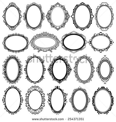 set of black oval vintage frames, design elements