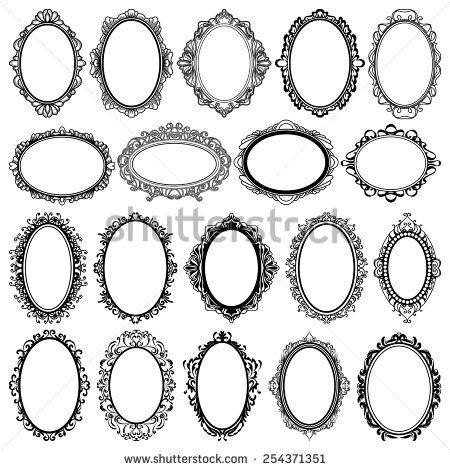 set of black oval vintage frames design elements Frames