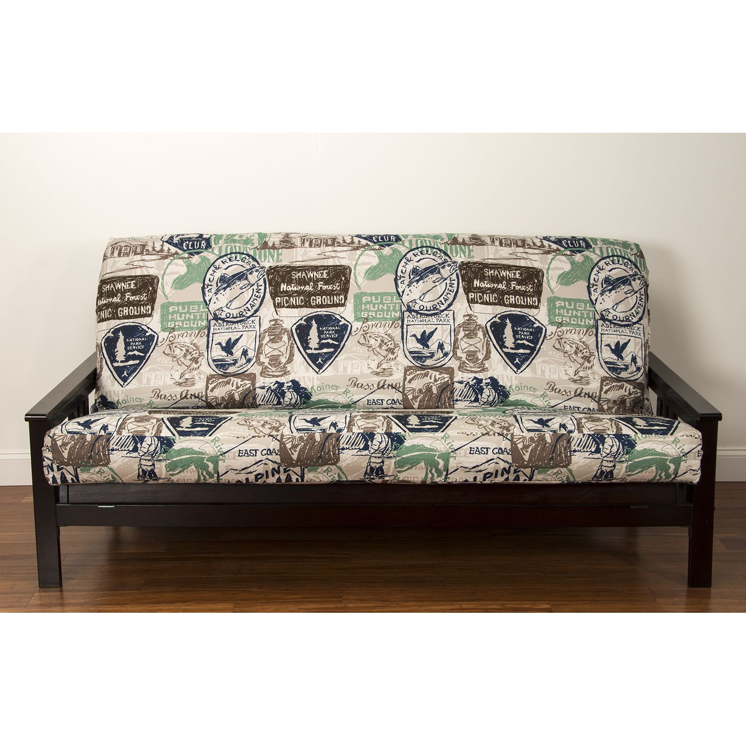 Siscovers Parks And Rec Futon Cover Queen Blue Futon Covers