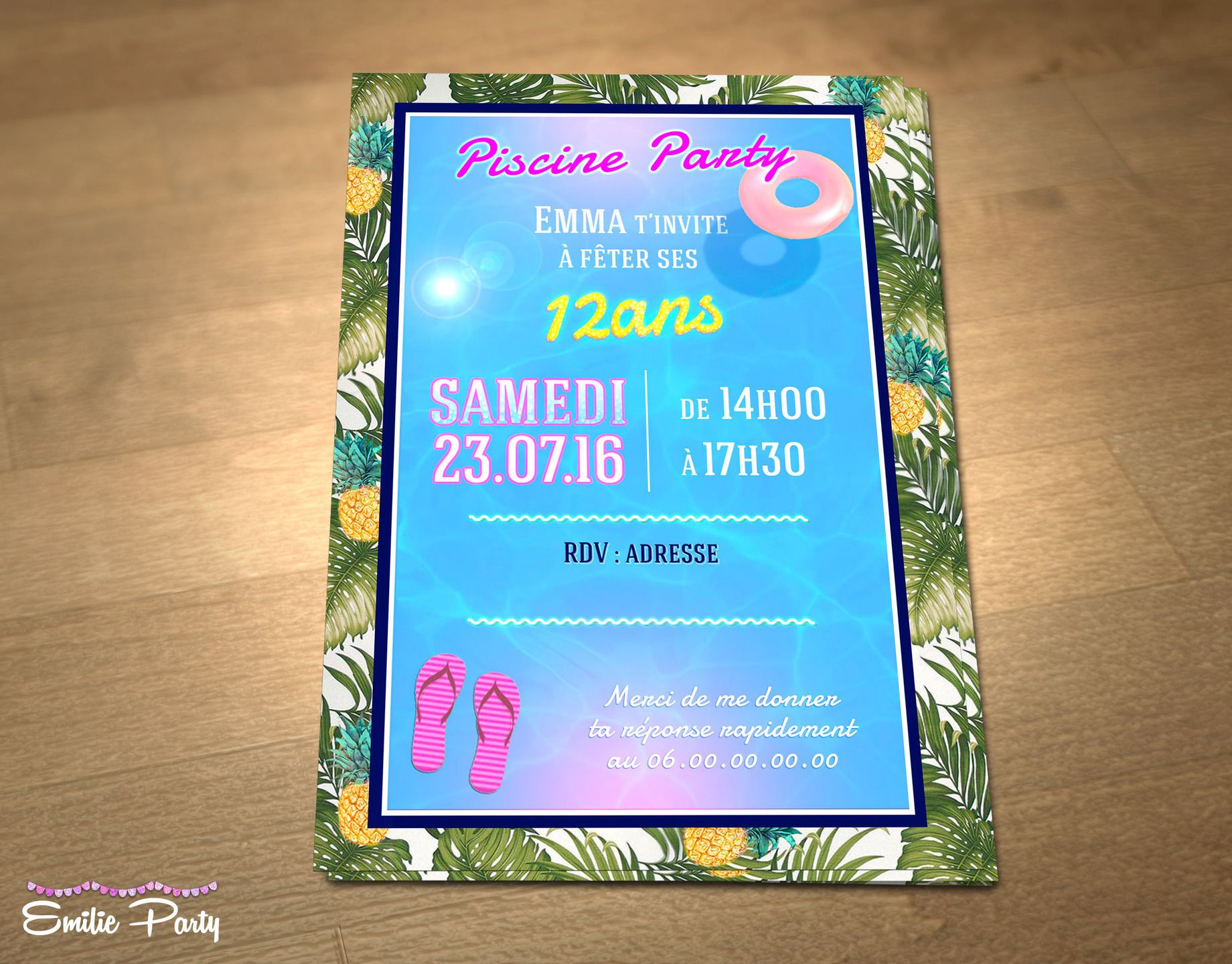 Connu Customizable printable themed birthday invitation: pool Party  FH42