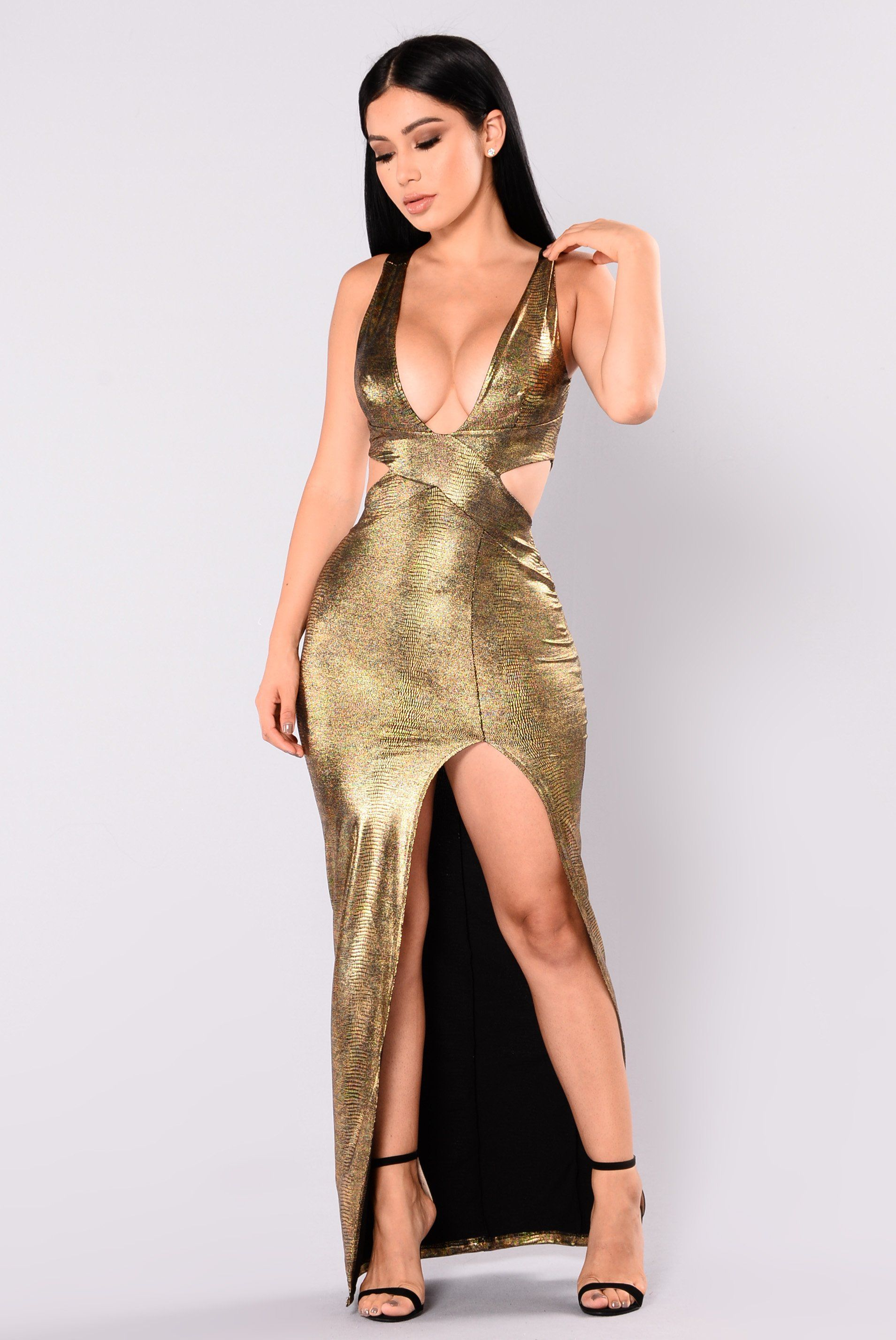 Going on holiday slit dress gold side split fabrics and gold