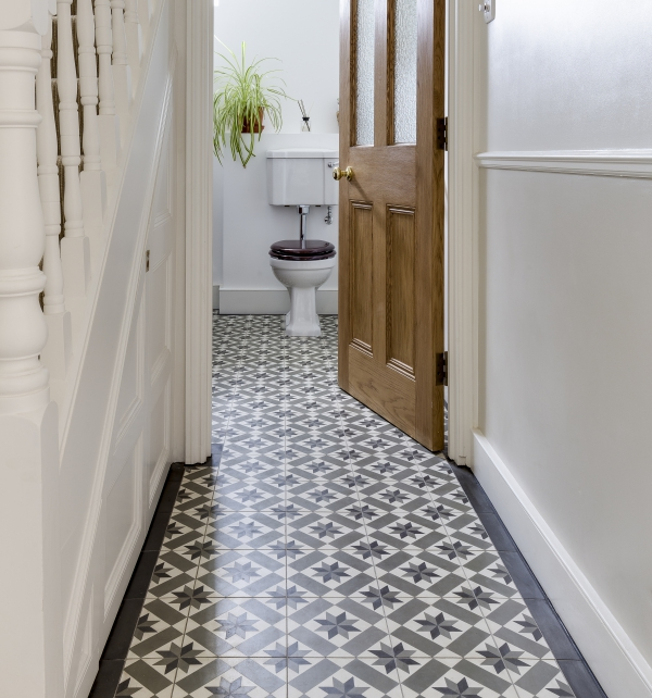 Nice tiles. I like the way that the hall flooring merges into the downstairs loo. #downstairsloo