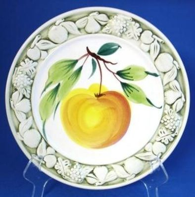 Apple Peach Hand Painted Ceramic Embossed Fruit Plate Italy  sc 1 st  Pinterest & Apple Peach Hand Painted Ceramic Embossed Fruit Plate Italy | eBay ...