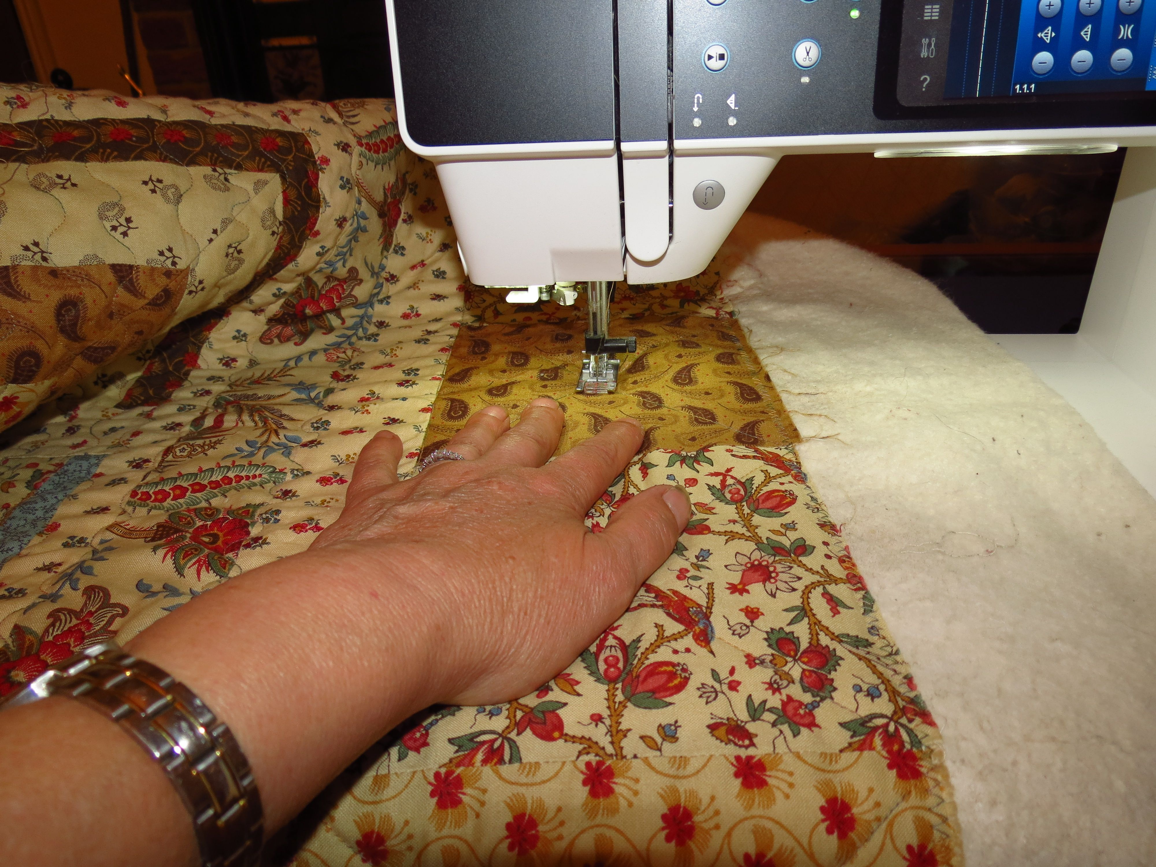"""Quilt & Cushions for my Stepdaughter Victoria - Using Moda """"Collection for a Cause - Love"""" Mini charm packs (2 1/2"""" squares) + complimentary Moda Fabrics - Better than a visit to the Gym - Great workout for the upper arms - pushing a king size quilt through the throat of a sewing machine!"""