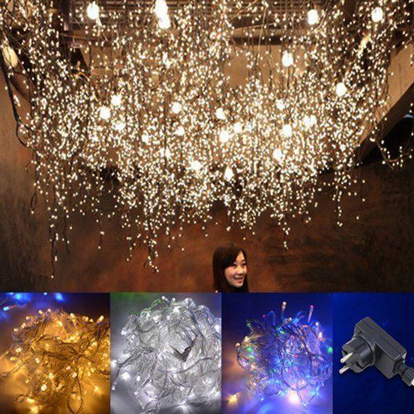 50m LED Lichterkette Beleuchtung Weihnachten Leuchte Vorhang Lichternetz Garten