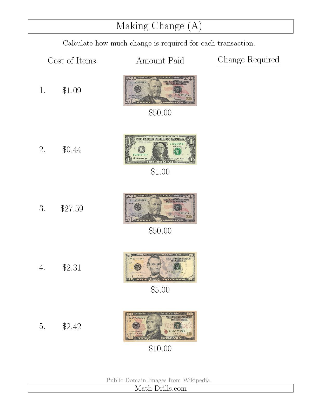 New 10 09 Making Change From U S Bills Up To 50 A