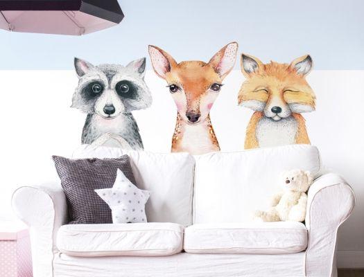 Wandtattoo Kinderzimmer Aquarell Tierfamilie Waldtiere I Love