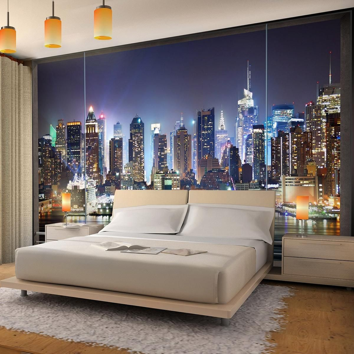vlies fototapete fenster nach new york ist eine beeindruckende pannorama tapete mit dem blick. Black Bedroom Furniture Sets. Home Design Ideas