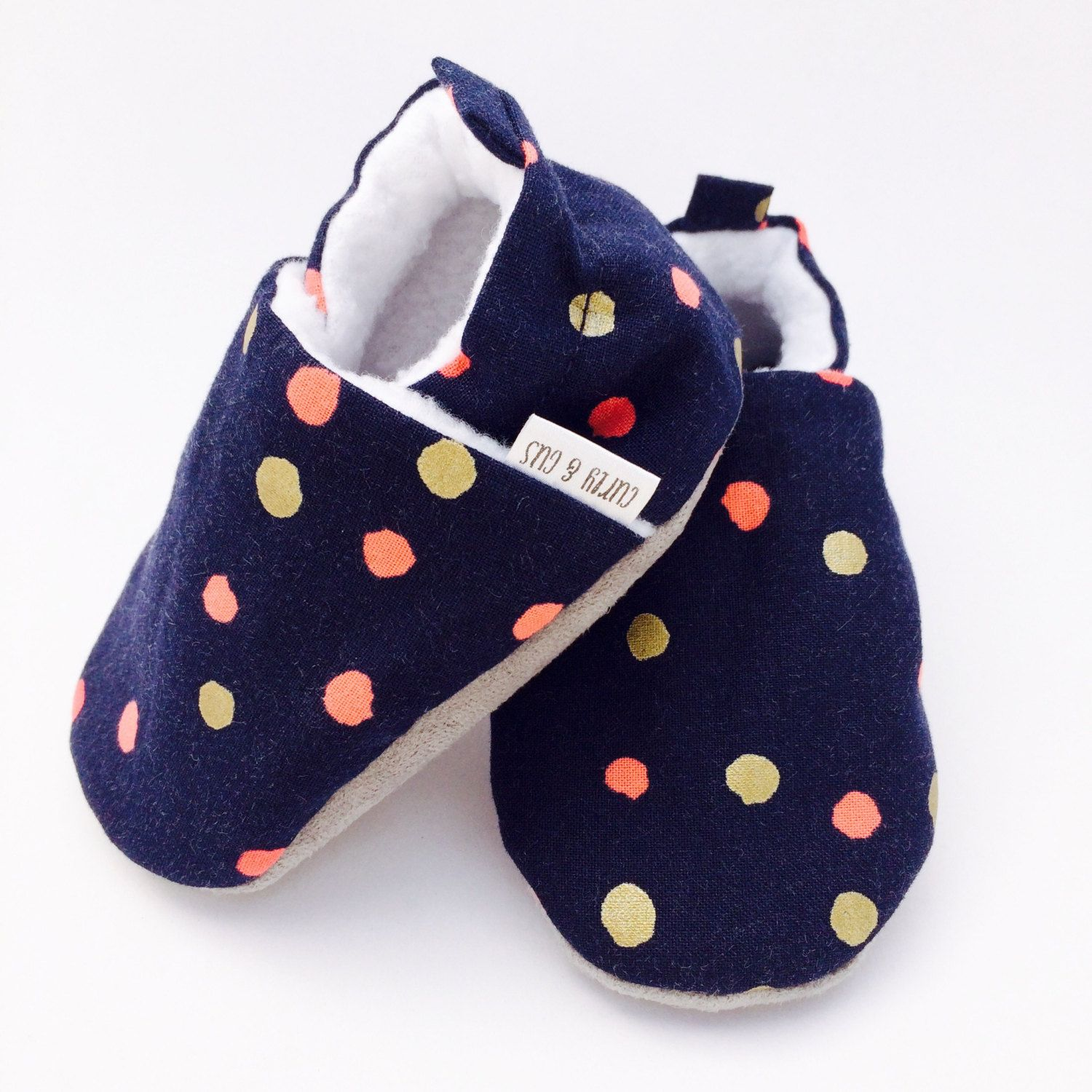 Polka Dot Baby Shoes Pink and Gold Dot Soft Soled Baby Shoes Navy