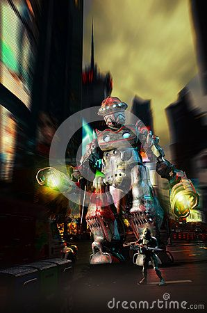 Gigantic robot and guard with a futuristic gun, walking by the city to protect it.