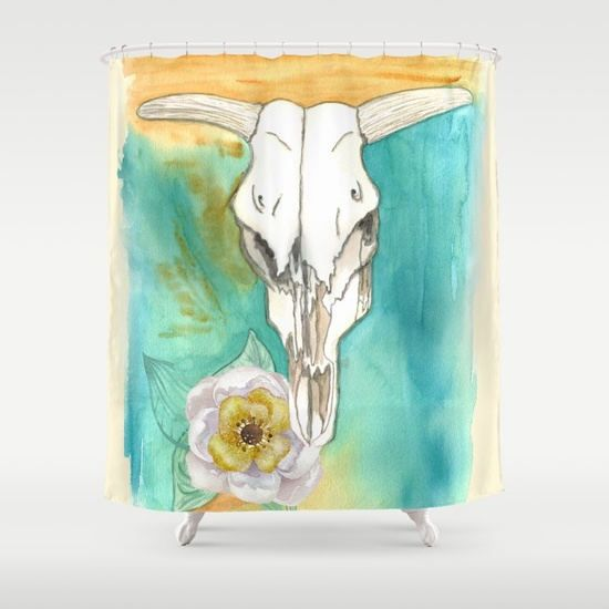 Cow Skull Shower Curtain Southwestern By Artfullyfeathered