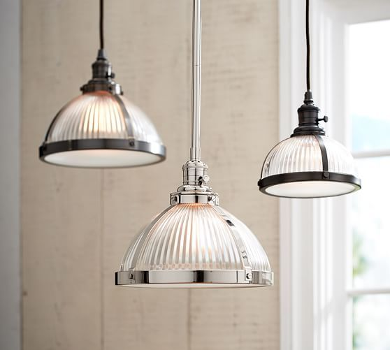 Pottery Barn Ceiling Light Fixtures: PB Classic Pendant - Ribbed Glass