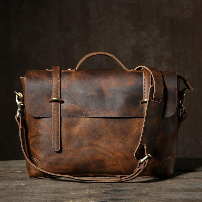 1193a0c40442 Handmade Leather Mens Cool Messenger Bag Briefcase Work Bag Business ...