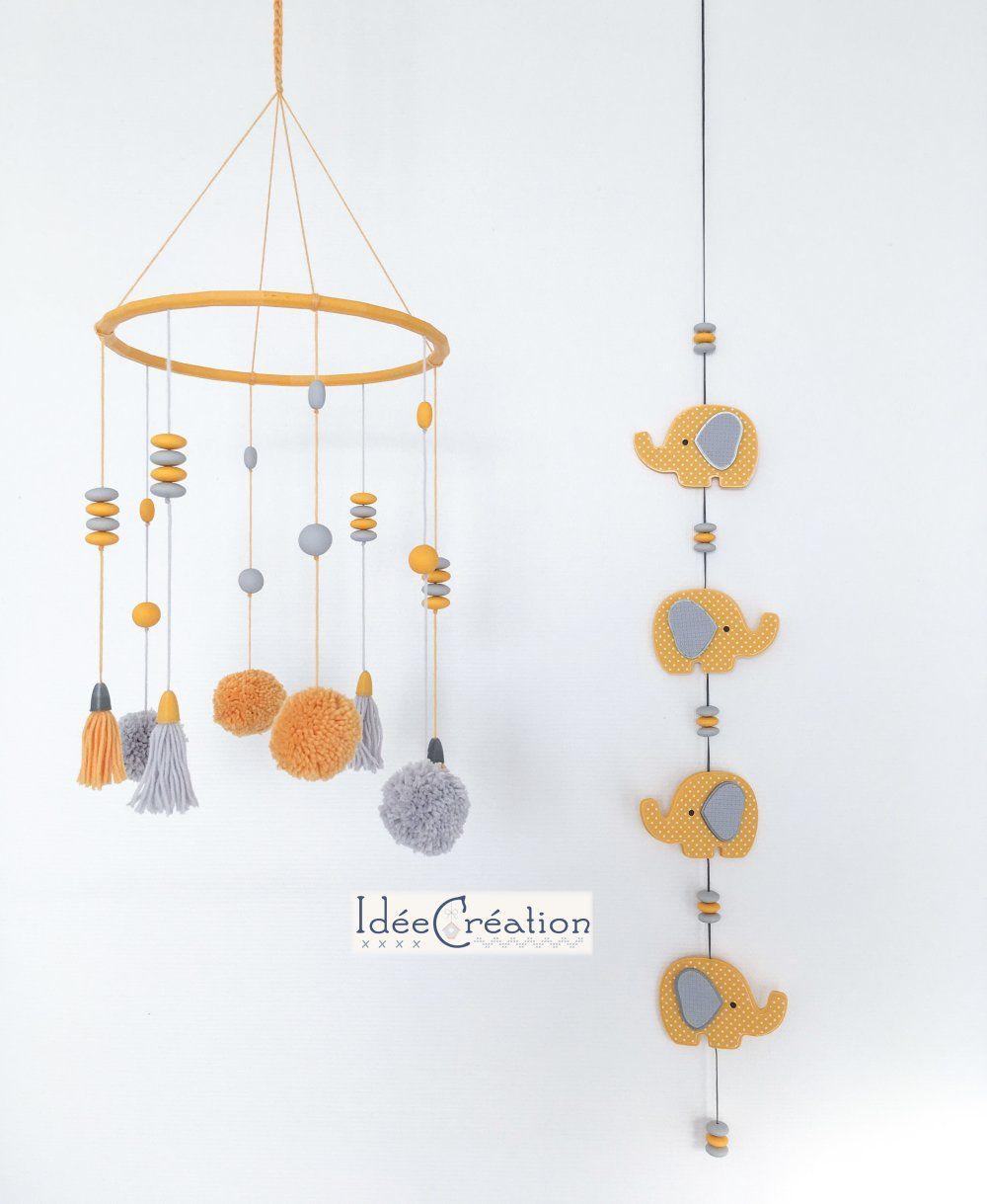 Mobile bébé pompons, jaune et gris, mobile bébé pompons et perles, déco pour chambre denfant