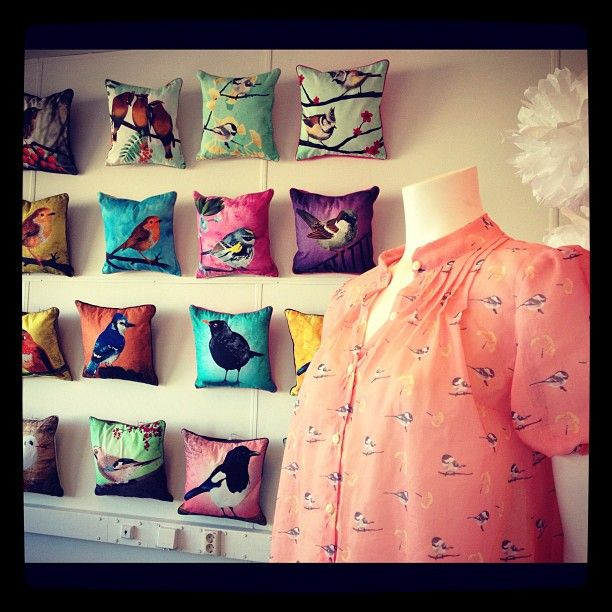 My newest chickadee blouse & the pillow wall.