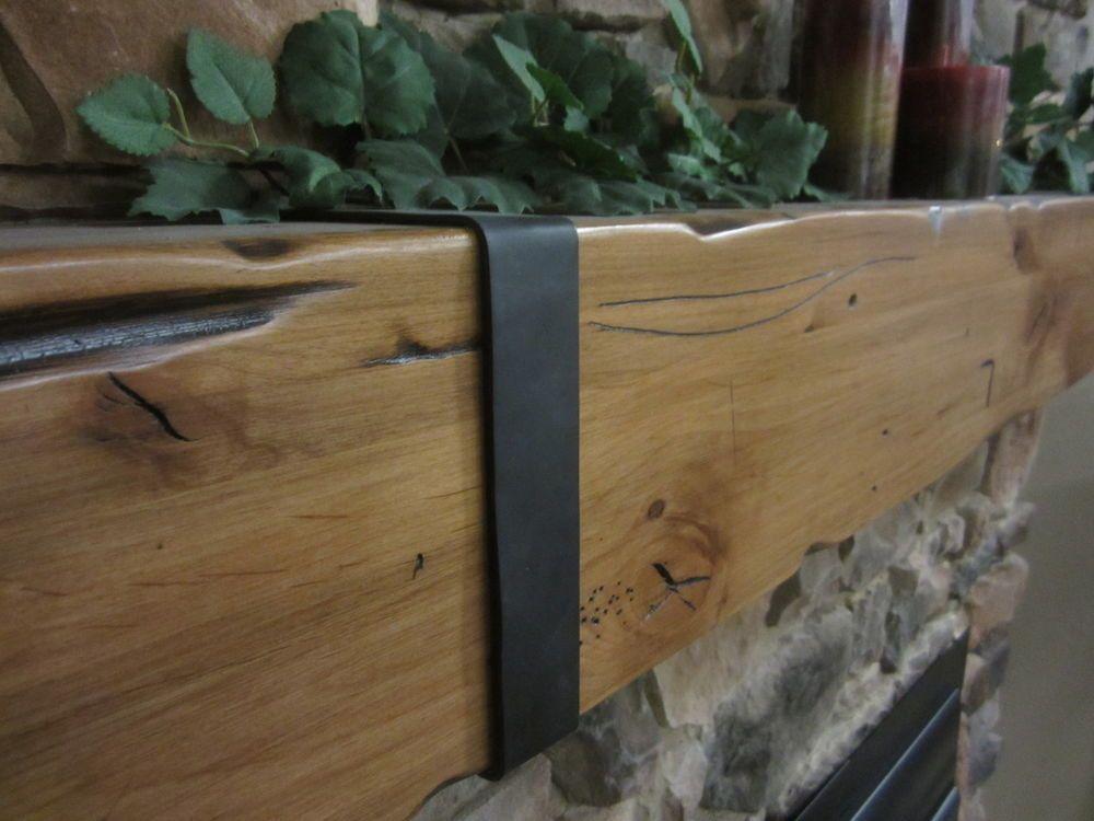 Wood Mantel Knotty Alder Rustic Distressed Beam Timber Hammered Straps  Fireplace #KnottyAlderRusticSalvagedDistressedBeamShelf ...