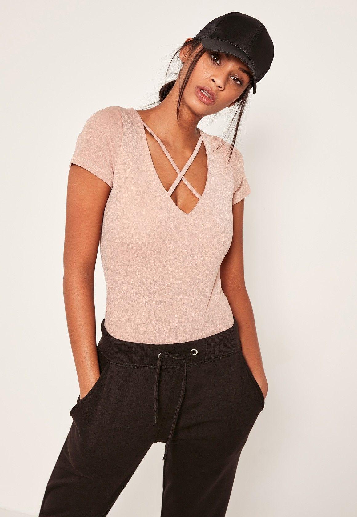 Missguided - Pink Harness Neck Short Sleeve Bodysuit