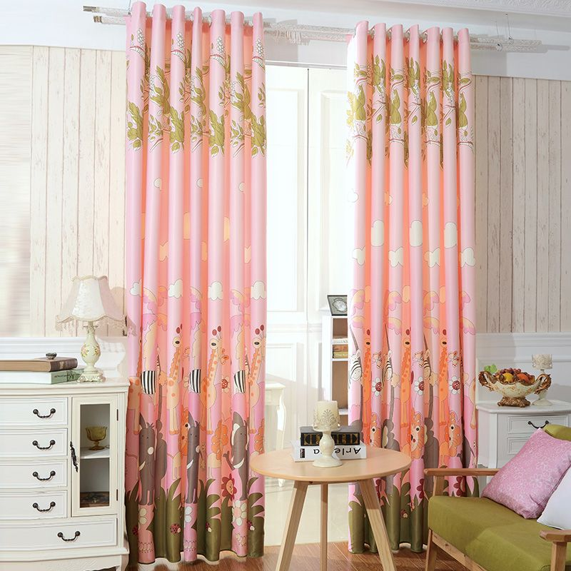 Blackout Shades For Baby Room affordable pink blackout giraffe and elephant nursery curtains
