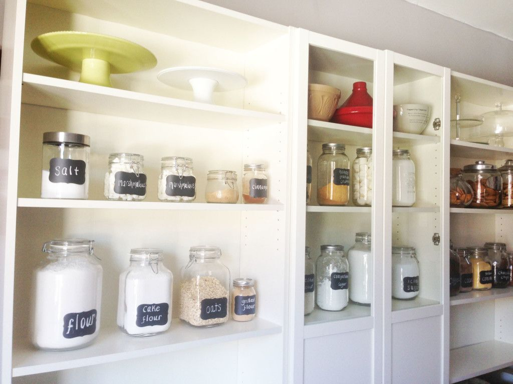 From nowathomemom.com IKEA Billy Bookcases for kitchen storage ...