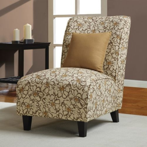 Floral Classic Modern Gold Tan Brown Fabric Armless Accent Slipper Chair New Living Room