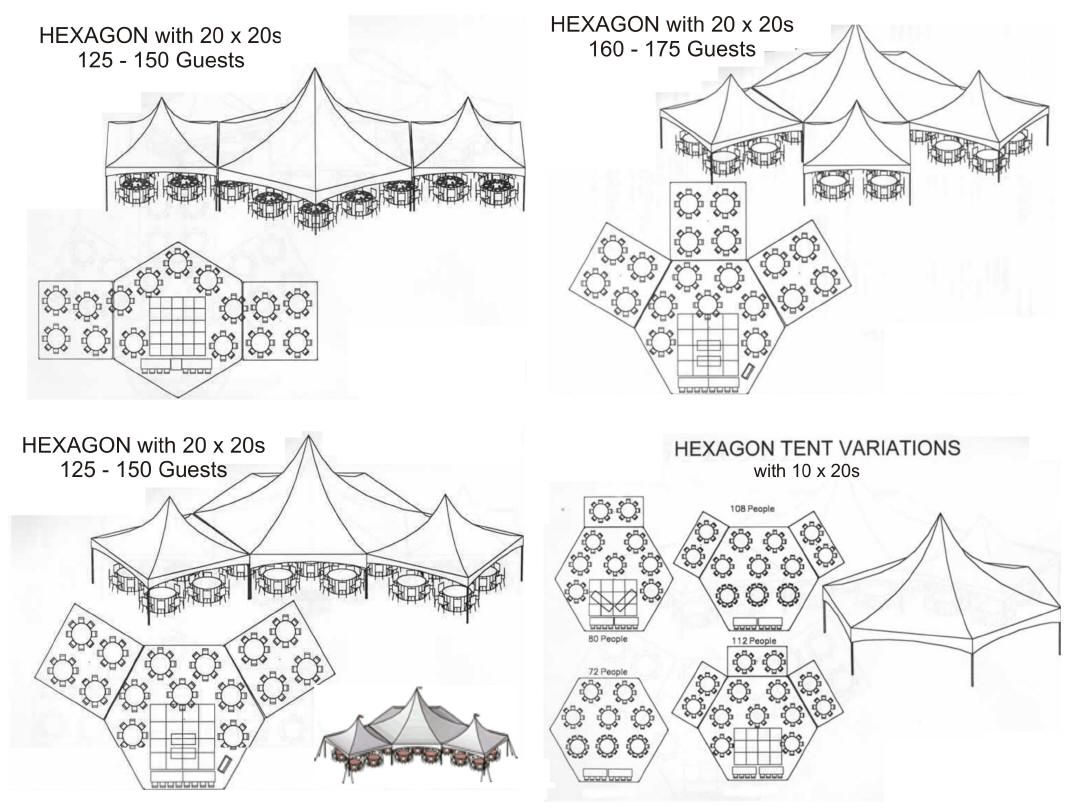 35x40 Hexagon Tent Layout With 2 Together