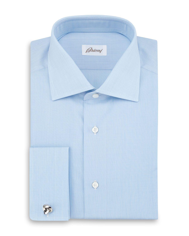 Brioni Button-Front Solid Formal Shirt, Pastel Blue, Men's, Size: 40 EU (15.75 US)