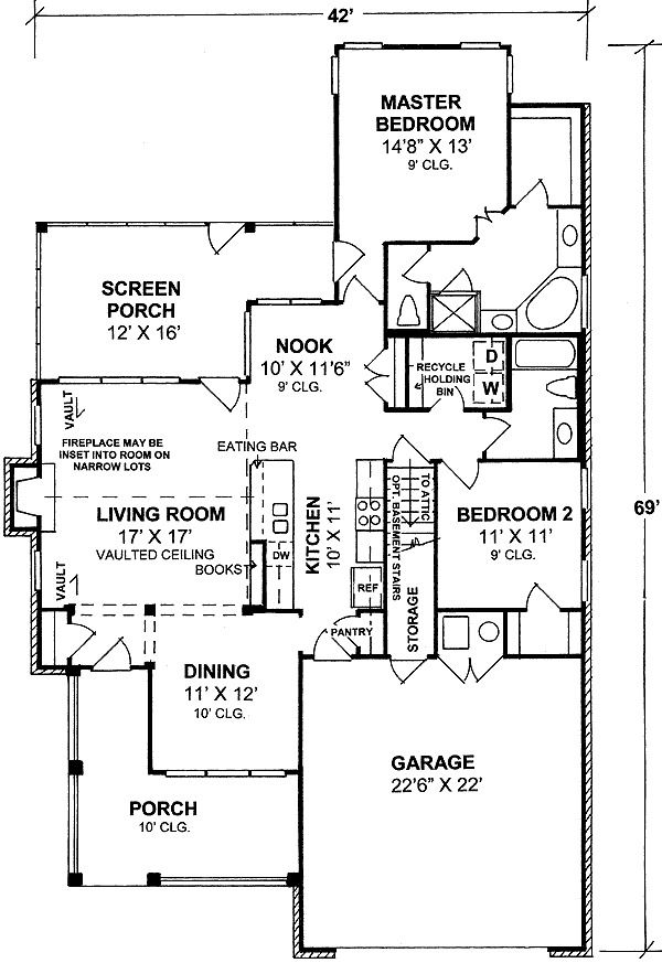Two Bedroom Cottage 40179wm 1st Floor Master Suite Cad Available Narrow Housebuilding Planssmall