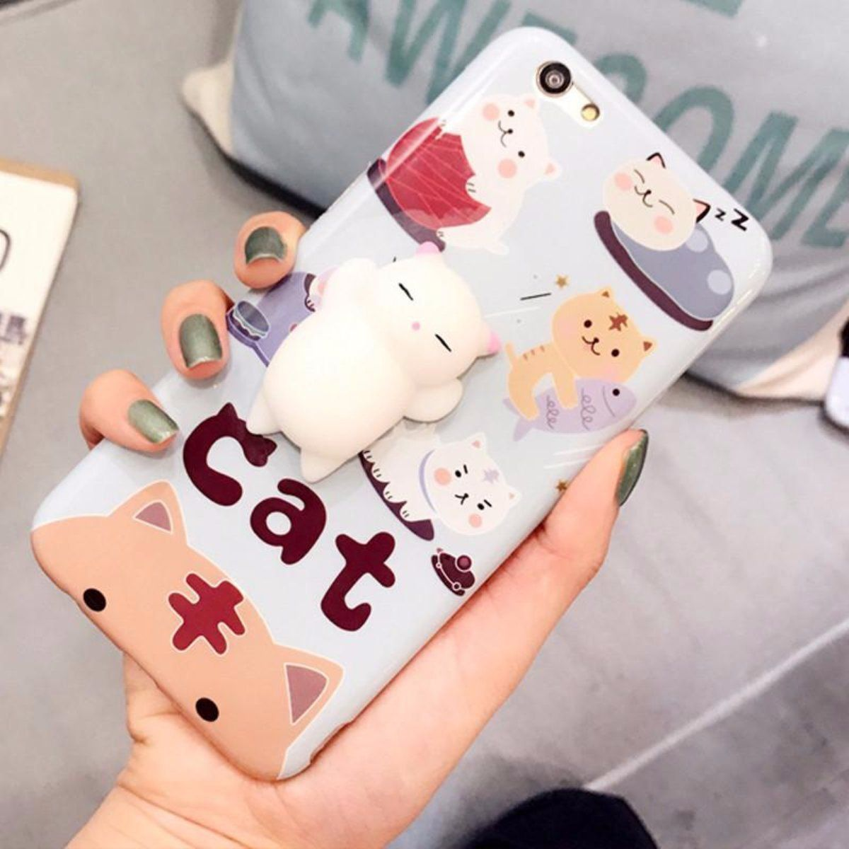 Adorable 3d squishy cat case fun cat phone case cats