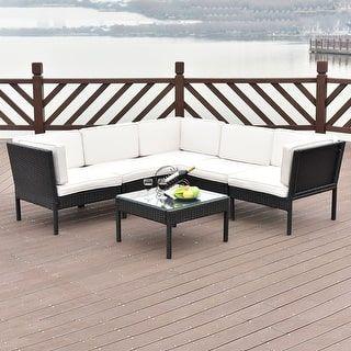 Costway 6 Pcs Rattan Wicker Patio Furniture Set Steel Frame Sofa