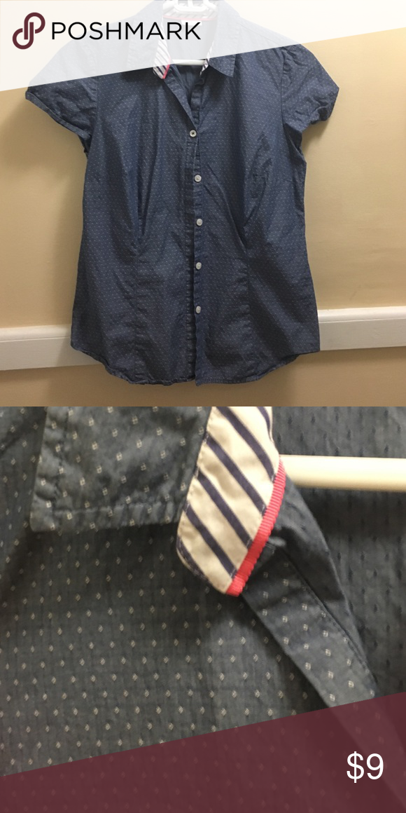 Pleated light blue blouse Great top for work/ layering! Has little white polka dots. Van Heusen Tops Button Down Shirts