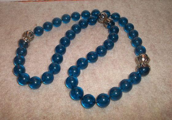 "vintage Caribbean blue beaded necklace 25"" $11.99"