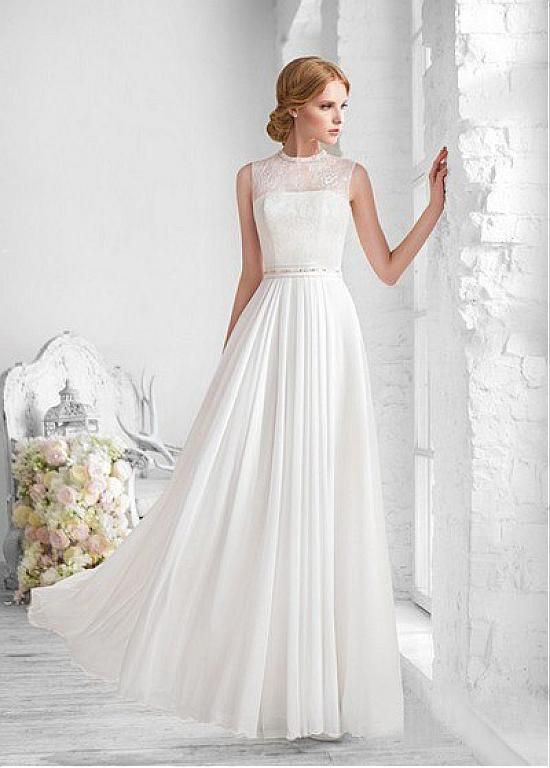 8ca5f4f1538 Elegant Lace   Chiffon High Collar Neckline Sheath Wedding Dress ...