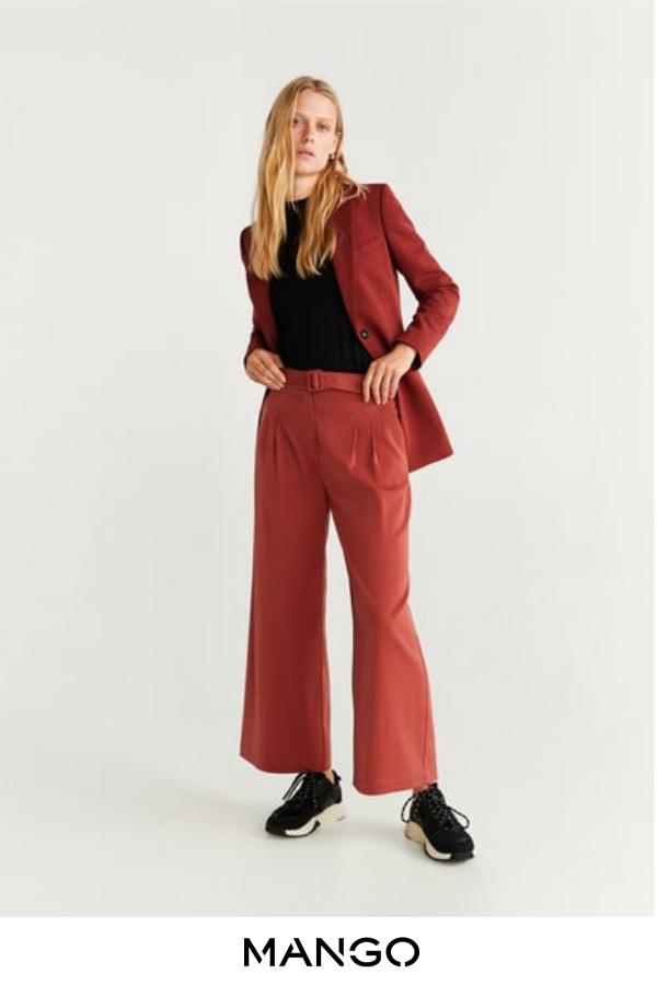 MANGO – female – Pantalón culotte cinturón rosa geranio MANGO – Rosa geranio – XS