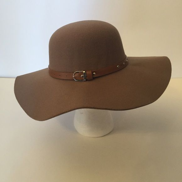Floppy Hat Light brown floppy hat with brown buckle strap detail Accessories Hats