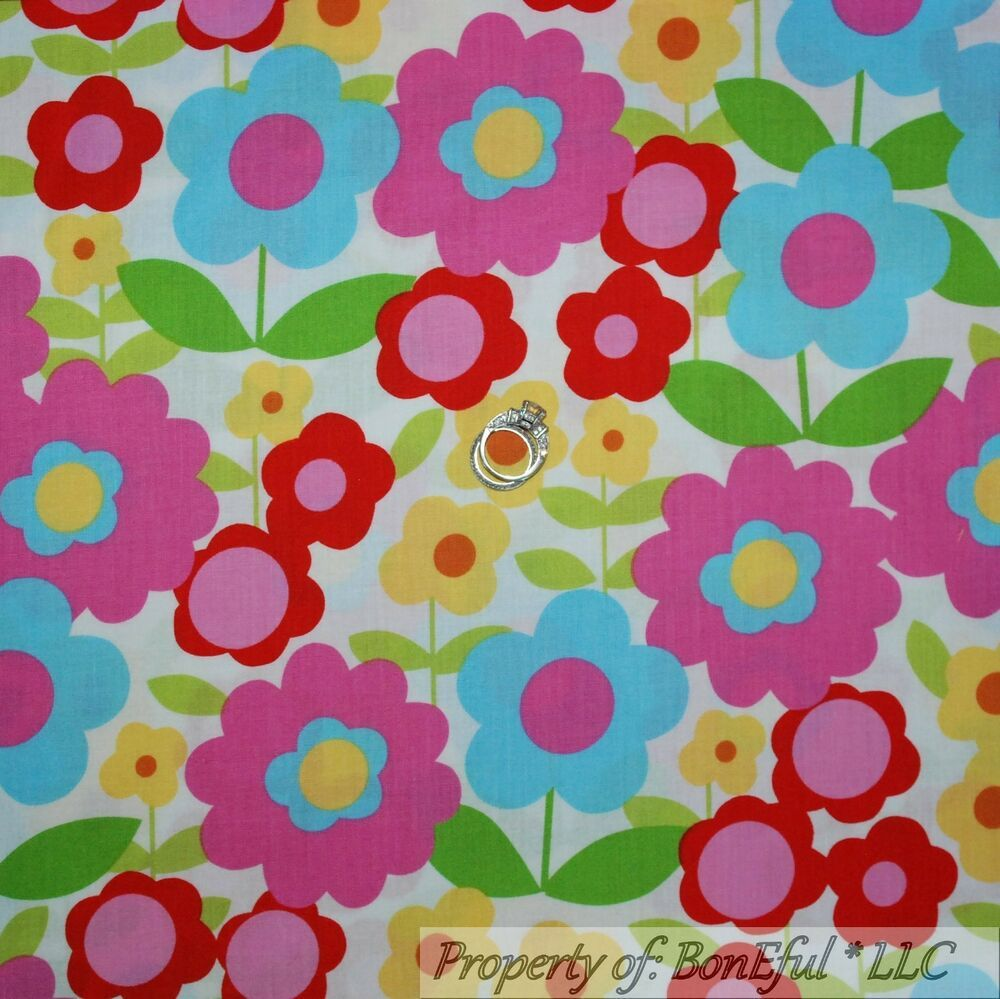 BonEful Fabric FQ Cotton Quilt Blue Red Pink Yellow Green Paisley Leaf Flower US