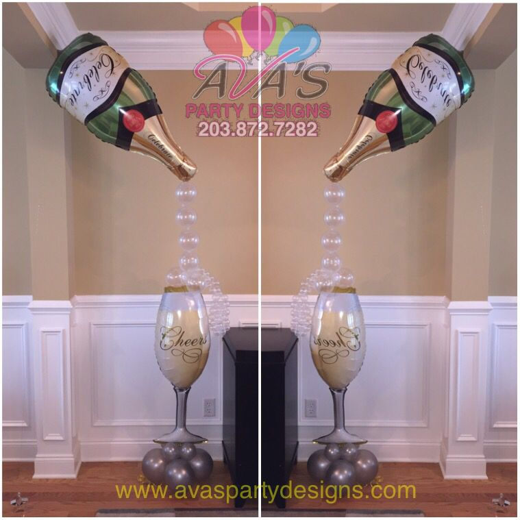 wedding shower centerpieces beach theme%0A Champagne bottle and glass balloon decoration  Great for bridal shower  wedding  decor or a