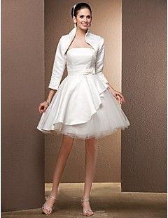 strapless knee length tulle wedding dress