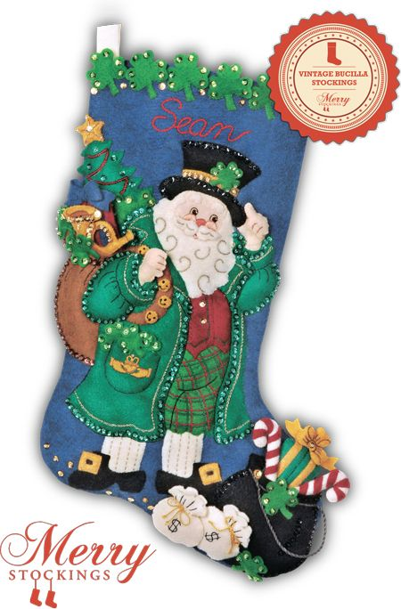 Irish Santa Bucilla stocking kit Mum would LOVE this santa con